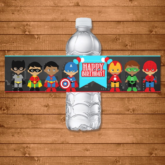 Superhero Drink Labels Chalkboard - Superhero Water Bottle Labels - Superheroes Party Favors - Superhero Printables - Diverse Superheroes