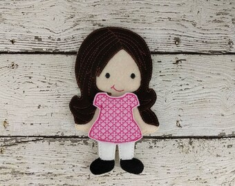 Amelia  Paper Doll - Party Favor - Pretend Play - Quiet Game - Travel Toy - Flat Doll - Felt Doll - Paper Doll - Dress Up Doll