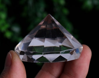 Natural Clear Crystal Quartz 12 Sided Facet diamond shape, Crystal Healing , Wiccan Pagan Crystal J688