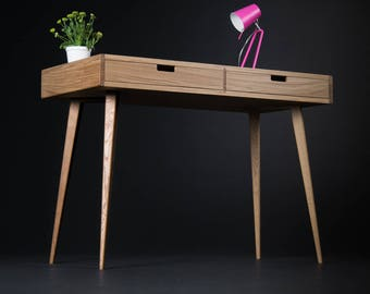 Desk, computer desk, home office desk, made of oak wood, small writing desk, style - mid century modern, scandinavian design, two drawers