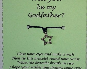 Will you be my Godfather, Ask Godfather, Wish Bracelet, Godfather proposal, Godparent Gift, Be my Godfather, Godfather gift, Christening