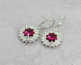 Fuchsia earrings Sterling silver earrings Drop earrings Pink earrings Rose earrings Mothers day gift for sister birthday gift for bridesmaid