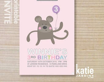 kids invitation  - monkey invitation - printable invitation - monkey with balloon - girls invite - pink - purple