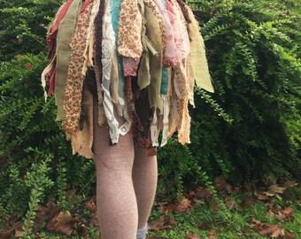 Romantic Fae,  shabby Chic Pixie wrap Skirt. Fairy Boho rag skirt, One of a Kind