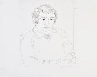 """Original Vintage Etching """"Norman Mailer"""" Hand Signed by Mailer and Knox Martin"""