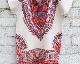 Vintage cream dashiki boho gypsy 70s hippy cotton indian ethnic mini smock short blouse tunic dress S