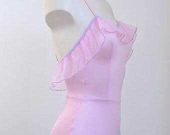 Pink ruffled bodysuit, lilac, Handmade in France. Custom sizing !