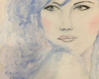 Acrylic painting / blue beauty Women, acrylic, art, decoration