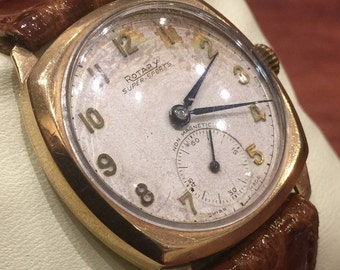 Gold Art-Deco Gents' Watch by ROTARY, Super-Sports. Non magnetic. Manual Swiss movement. Vintage circa 1930's.
