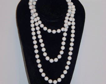 "Marvella 56"" White Bead Wrap Around Necklace"