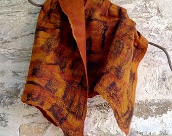 """Felted scarf  """" Saffron tiger """". Amber and black. Wool and silk OOAK statement scarf"""