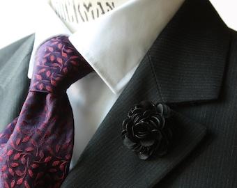 Lapel Pin - boutonniere - Flower - Black Satin - men flower lapel pin, Dapper Men, Dandy, Wedding Groom