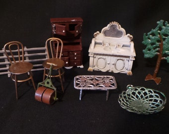 SALE Collection Of Vintage Miniature Metal Furniture Oddities France England Trees Outdoor Cabinets Lot