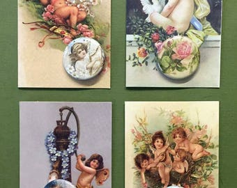Victorian Cherubs Roses Button Note Card