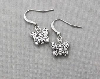 Butterfly Earrings, Silver Butterfly, Charm, Bead, Tiny Butterfly, Little Butterfly Earrings