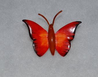 Signed Original by Robert Tiny Vintage Red Orange Butterfly with Antennae Brooch or Pin Perfect!