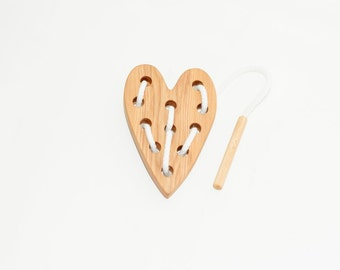 Wooden lacing heart toy, Educational toy, Montessori toys, Organic toy, Toddler activity, Natural eco friendly, Learning sewing toys