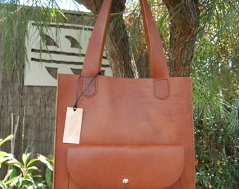 Tan Leather Tote Bag Market Shopper
