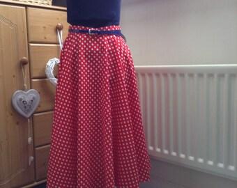 Full circle, retro vintage style, handmade red polka dot swing skirt, rock n roll, reenactment, fifties, rockabilly, custom made skirt