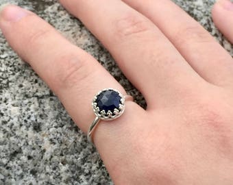 SALE 30% OFF - genuine sapphire ring with 925 sterling silver bezel and band - sapphire ring - September birthstone - choose your size