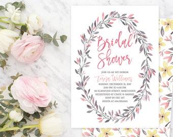 Spring Bridal Shower Invitation / Pink Yellow Wreath Bridal Shower Invitation / Floral Bridal Invite / Watercolour Printable Invitation