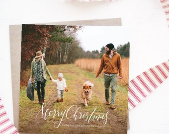 "Simplistic ""Merry Christmas"" Calligraphy Photo Christmas Card"