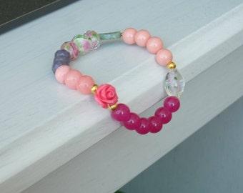 Cotton Candy bracelet, beaded bracelet, pink bracelet, pink rose bracelet, flower bracelet