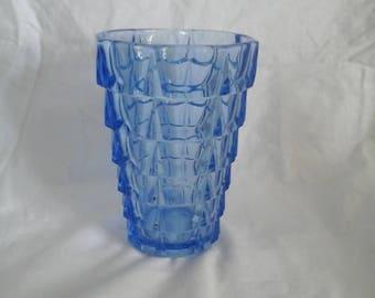 1930's Vintage Blue Pressed Glass Vase