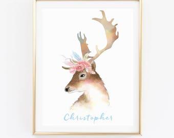 Custom Name Print, Animal Print, Watercolor Deer Print, Personalized Print, Nursery Wall Art, Kids Room Print, Baby Shower Gift, D81-21