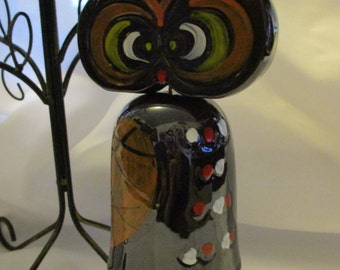 Vintage 70's ceramic hoot owl wind chime bell