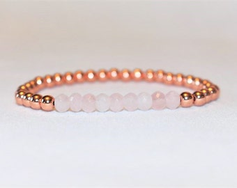 Rose Quartz Bracelet - Gemstone Bracelet - Rose Gold Bracelet - Rose Gold Jewelry - Gifts for Her - 5mm Beaded Bracelet - Natural Gemstone