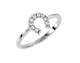 Horse Shoe Lucky Diamond Ring  ~ 14K Solid Gold
