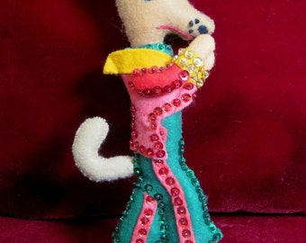 Vintage Finished Bucilla Christmas Ornament  Wolf from Little Red Riding Hood, Felt Decoration, 1970s Christmas Ornament, Rare