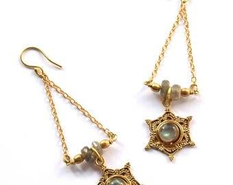 Labradorite Earrings, Boho Earrings, Gemstone Earrings, Statement Earrings, Ethnic Earrings, Indian Earrings