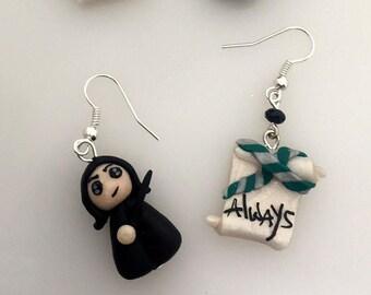 Severus Snape earrings, Always, Always, miniatures, miniature earrings, Severus Snape, Harry Potter, Hermione Granger, Ron Weasley, Luna