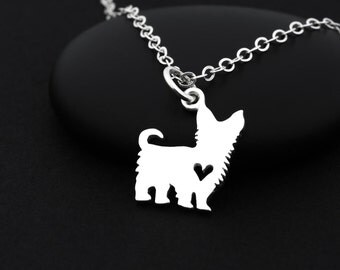 Yorkie Necklace, Yorkshire Terrier, Sterling Silver, Yorkie Jewelry, Dog Necklace, Dog Lover Gift, Dog Heart Necklace, Dog Lover Necklace