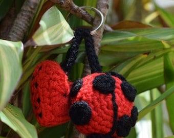 Crochet Lady Lovebug, Ladybug, Ladybird, Lady Beetle with Love Heart, Valentine keychain, Mother's Day Gift.