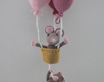 Mice on a balloon ride, amigurumi, handmade plushie