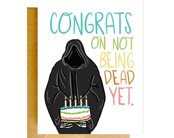 Funny Birthday Card, Funny Grim Reaper Card, Birthday Card, Funny Cards, Birthday Card, Funny Card, Unique Birthday Card, Funny Cards