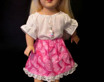 Pink paisley skirt, white blouse, fits 14 to 18 inch fashion doll, comes with pendant necklace