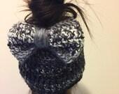 Bow Messy Bun Beanie - Bow Beanie - Bow Hat - Crochet Messy Bun Hat