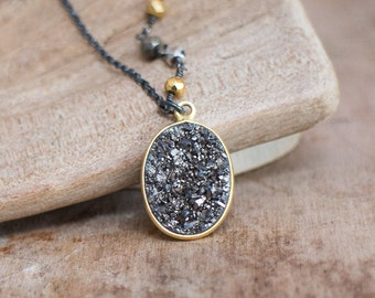 Black Diamond Druzy Necklace, Gold and Black Silver Mixed Metals Necklace, Sparkly Black Natural Druzy Pendant, Pyrite Jewellery