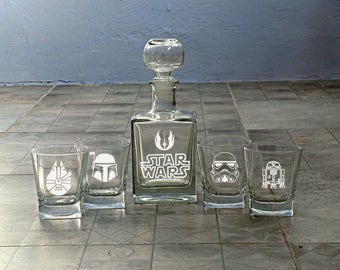 Star Wars Set Whiskey Decanter Groomsmen Gift Wedding Whiskey Glasses Decanter Valentines gift Mens gift Father day Boyfriend Best Man Gift