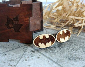 Batman Set Cufflinks and Tie Clip Wood Groomsmen gift ideas Groomsmen Set Batman gift  Valentines gifts for him Wedding Gifts for men