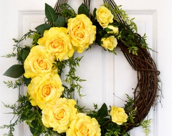 Yellow Rose Wreath | Front Door Wreath | Spring Wreath | Summer Wreath | Romantic Wreath | Housewarming | Mother's Day