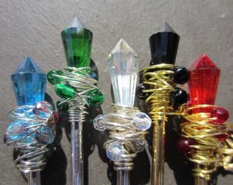 Hair Stick, Metal, Hair Pin, Kanzashi, Hairsticks, Wire Wrapped, Bun Stick, Updo, Chopstick, Glass Crystal and Beads, Wand, Pick