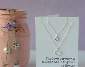 Double heart mother and daughter necklace - One for you and one for me