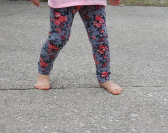 Baby and Toddler Leggings Spring Summer Floral Leggins Pants Light weight floral Gray Pink and Red