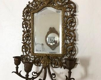 On Sale / Antique Mirror, antique, wall sconce, mirrored candelabra, ornate details, Victorian era, renaissance decor