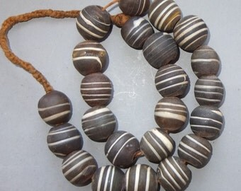 Chunky Ethnic Necklace with Old Handmade Large Round Brown White Striped Glass Beads from Nepal, Folk Beads, Tribal Jewelry, FREE SHIPPING